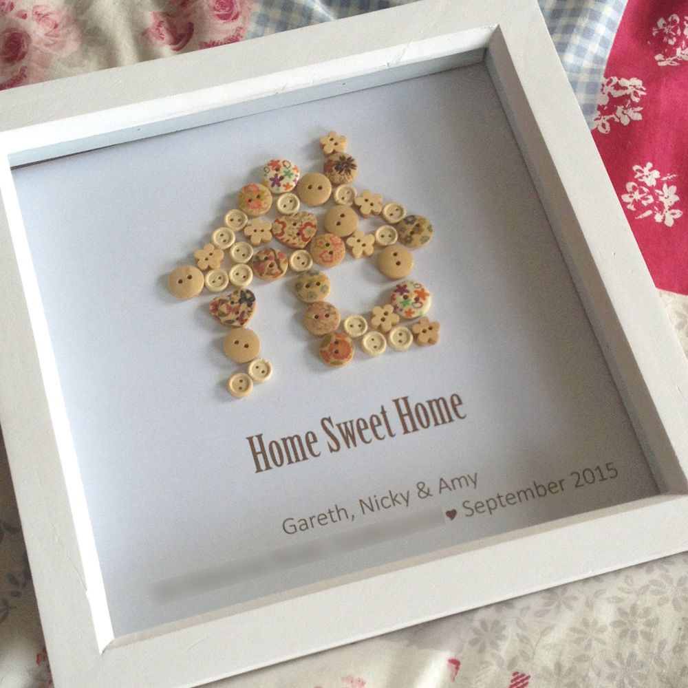 Personalised Home Is Where New Home Gift Print By: Personalised Home Sweet Home Button Art Print Box Frame