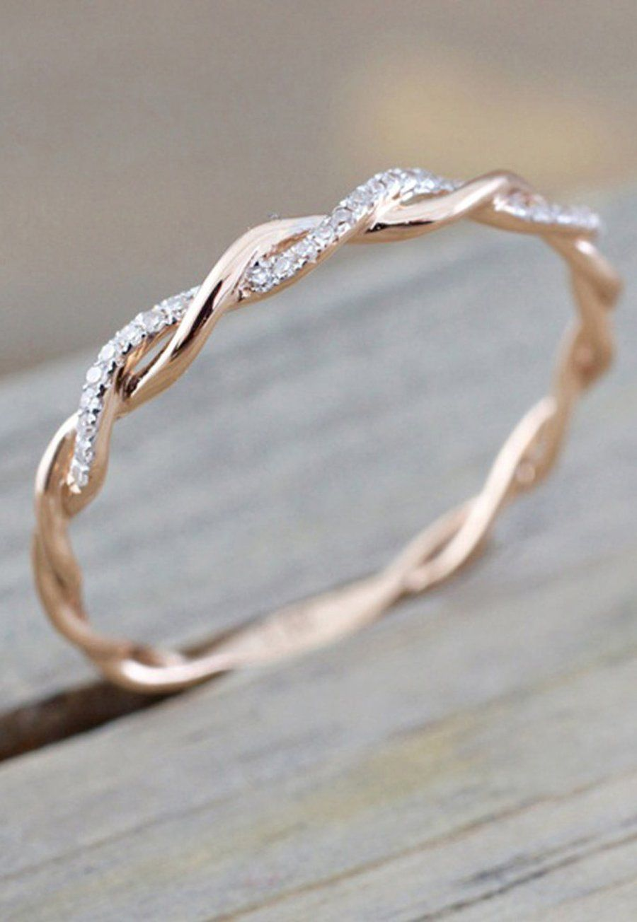 Daphne Dainty Crystal Rose Gold Twist Ring Everyday