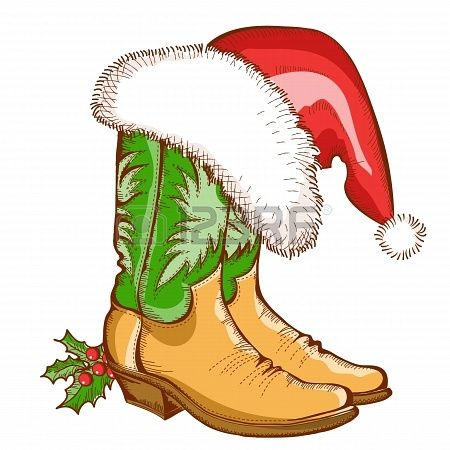 christmas cowboy boots and santa hat vector western illustration rh pinterest co uk country christmas clipart borders country christmas clip art images
