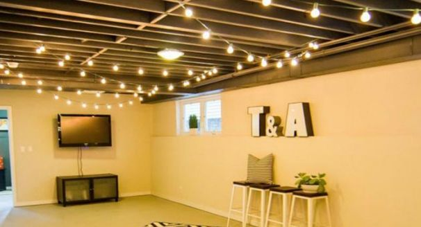 8 Finishing Touches For Your Unfinished Basement Basement Makeover Basement Lighting Finishing Basement
