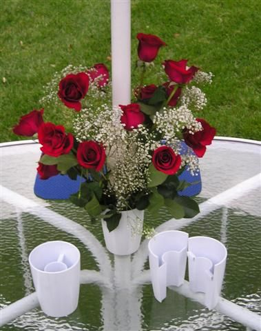 LeVas™ Flower Vase- Create a floral centerpiece for your patio table even when there is an umbrella pole.
