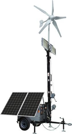 optional hybrid solar wind lighting trailer system homestead