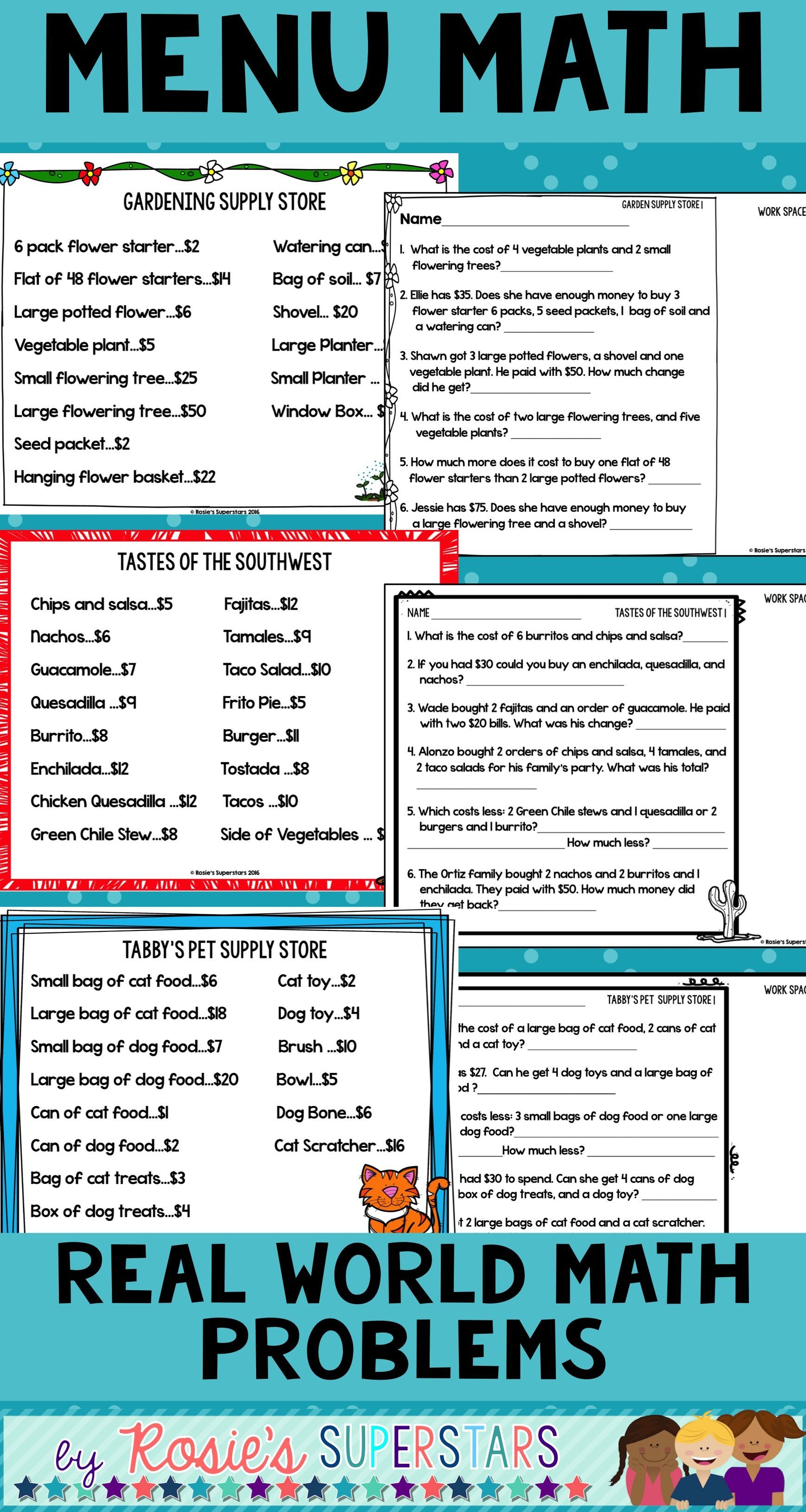 Menu Math: Real World Multistep Word Problems and Mini ...