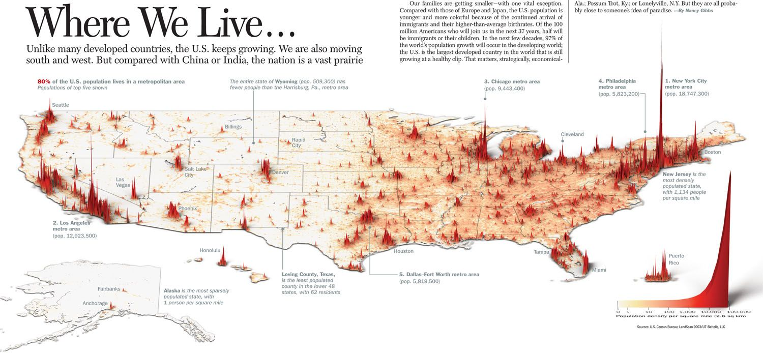 Where We Live In The US Time Magazine Online Image - Create us map infographic