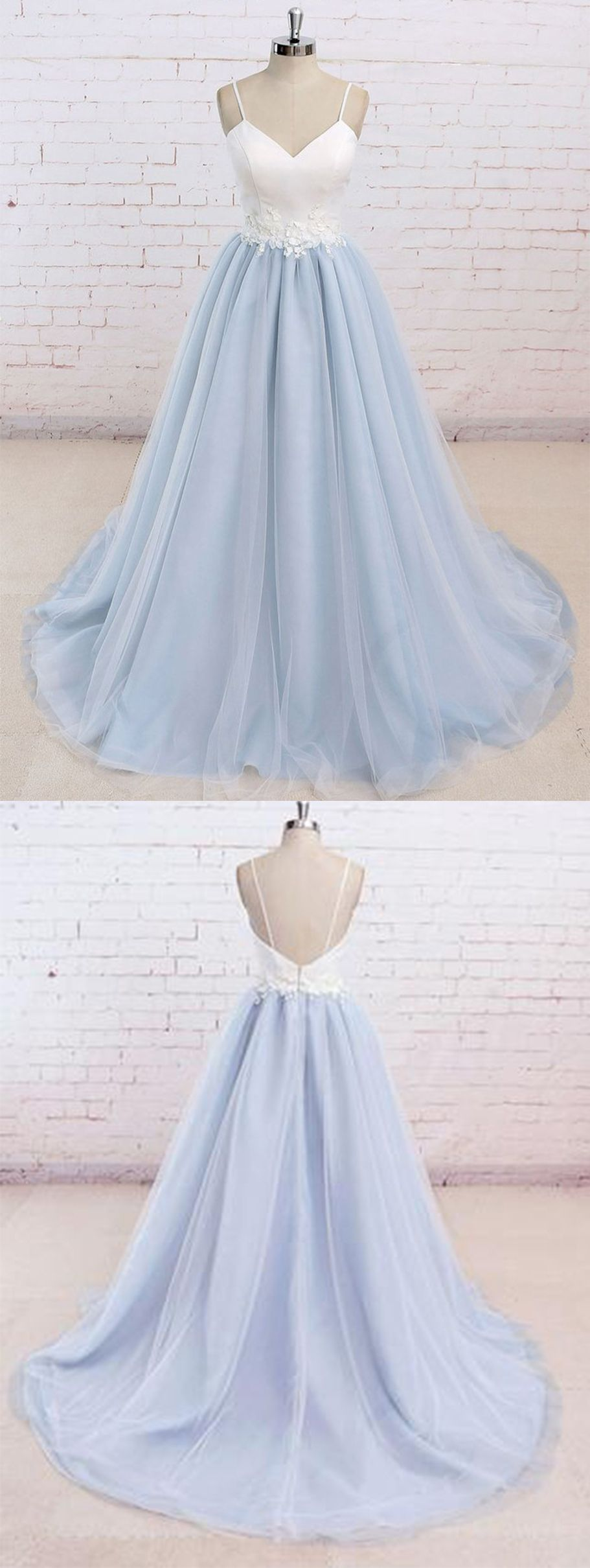 Baby blue tulle long simple flower senior prom dress with white top