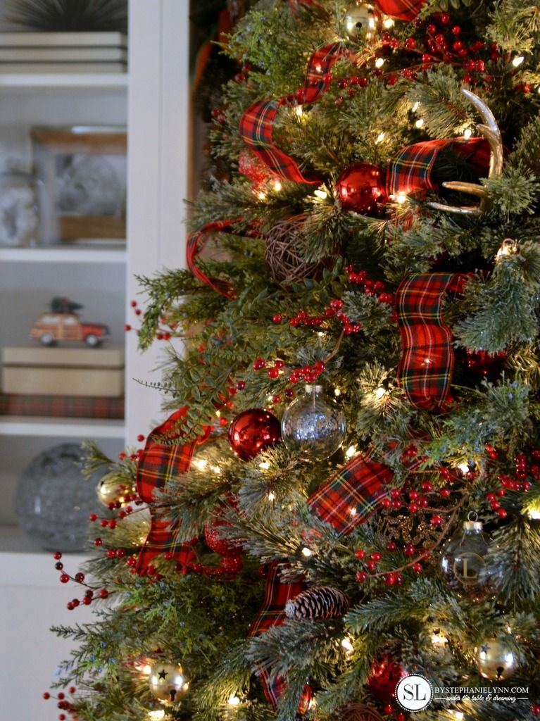 Traditional Red Tartan Plaid Christmas Tree Plaid