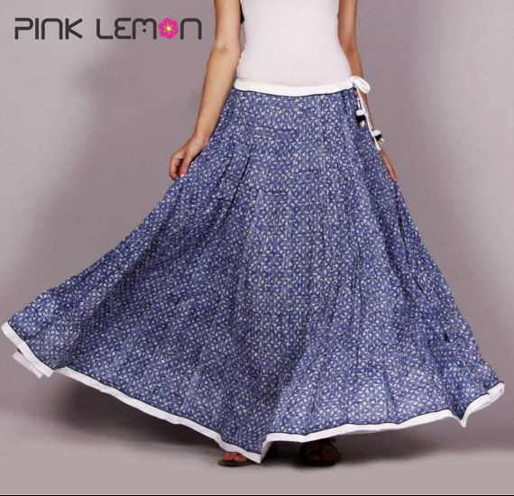 bd0de3ef878c6a Indian hand Block printed Long Crinkled Cotton gathered Skirt Women's  Ethnic Summer casual wear