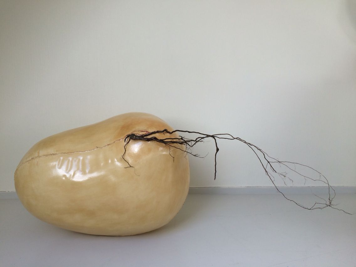 """Resilience / Resistance by Tuva Widén. #Textile #art #sculpture #living #materials #contemporary #body #dispositive: """"The living body is constantly exposed to external forces. But the grass breaks the concrete. It is not an object. It is no artifact. It is an inner experience. The lived body. Subjectivity. A shared experience. Evolutionary correspondance. Embryo. Fetus. Seed. There are traces. Resistance. A shared story."""" #tuvawiden"""