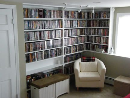 These Shelves Would Need To Be In One Corner Or Whole Wall Of The Movie Room For All My Dvd S Home Dvd Shelves Home Library