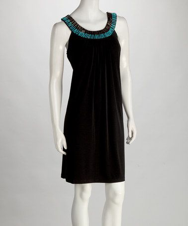 Take a look at this Phase Seven Black & Turquoise Beaded Yoke Dress by Voir Voir & Phase Seven on #zulily today!