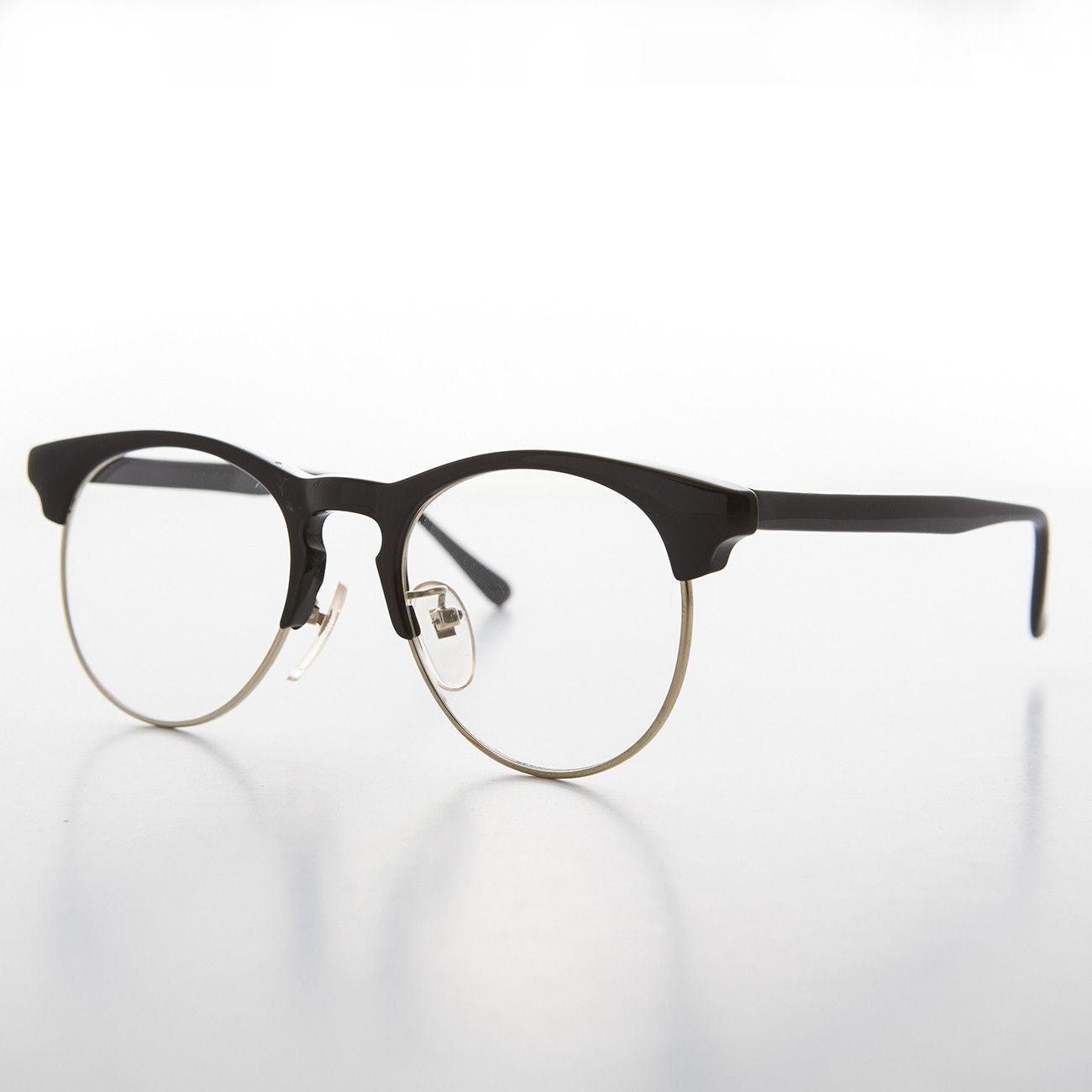 black horn rim clear lens vintage glasses