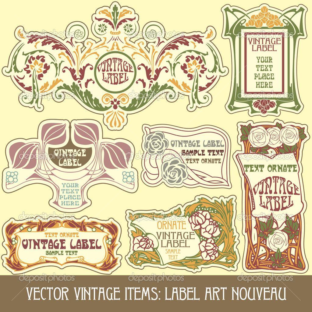 Label art nouveau - Stock Illustration: 7213618   Flourishes ...
