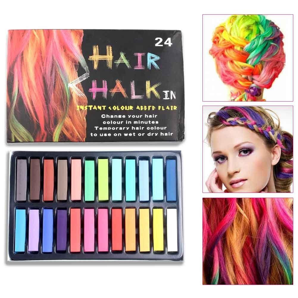 24 Color Hair Chalk Set Non Toxic Rainbow Colored Dye Pastel Kit