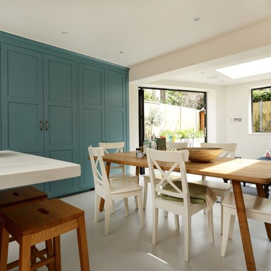 Shakerstyle Kitchen With Painted Stools  Painted Kitchen Design Awesome Dining Room Ideas Uk Inspiration