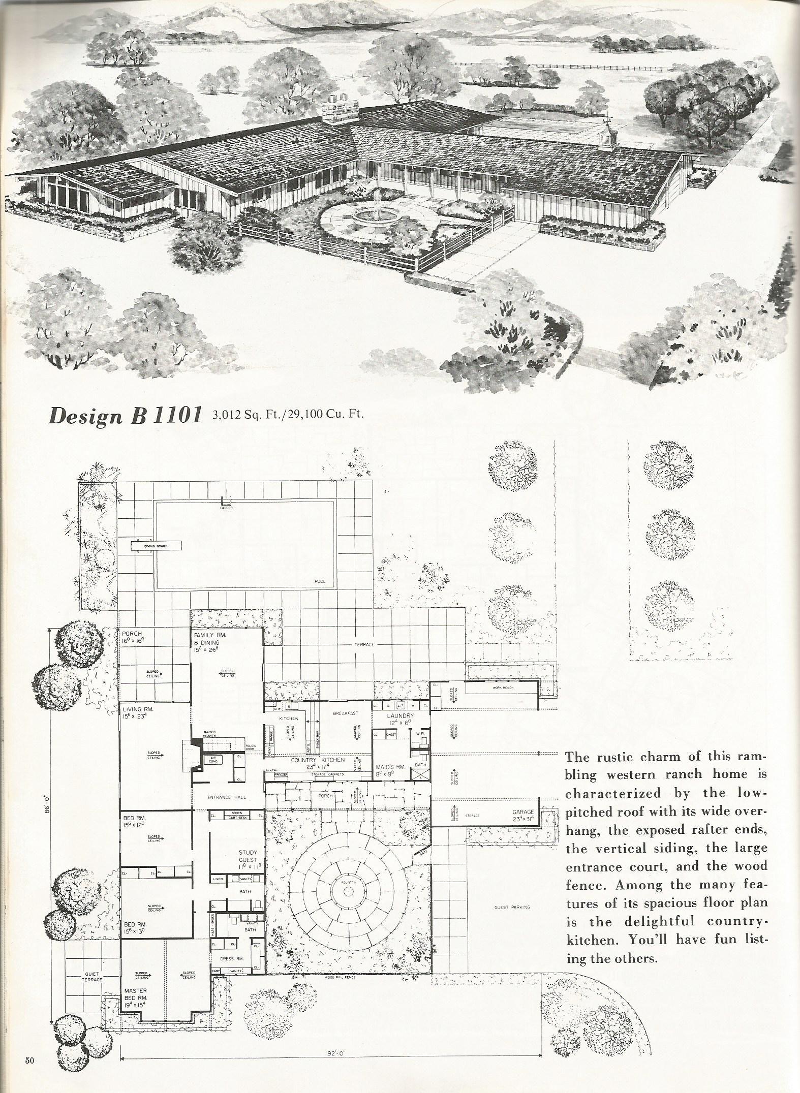 vintage house plans, western ranch houses | Home Designs | Pinterest ...