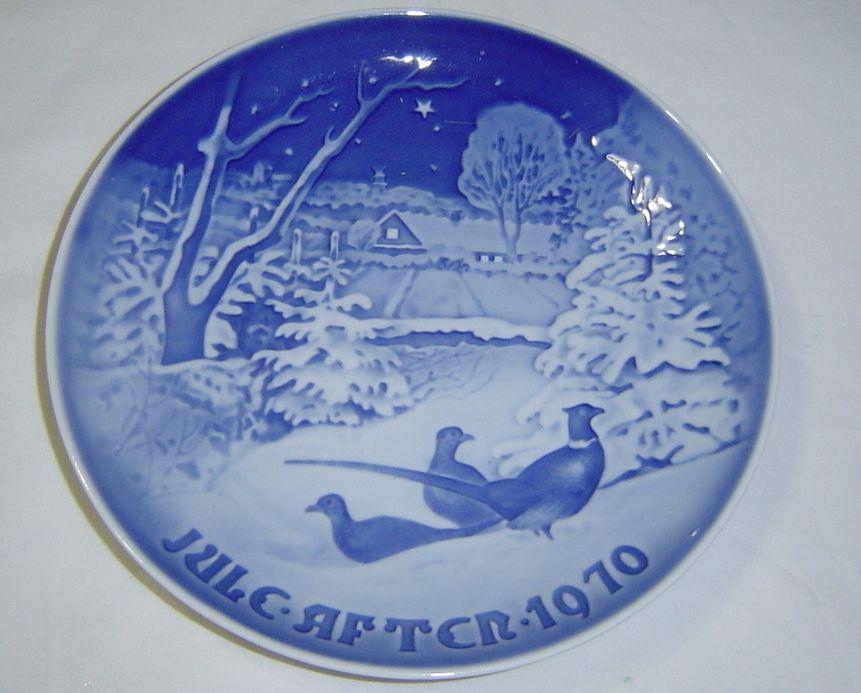 B /& G Bing Grondahl Denmark Copenhagen PHEASANTS IN SNOW Christmas  Plate 1970