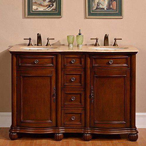 Silkroad Exclusive Countertop Travertine Double Sink Bathroom Vanity