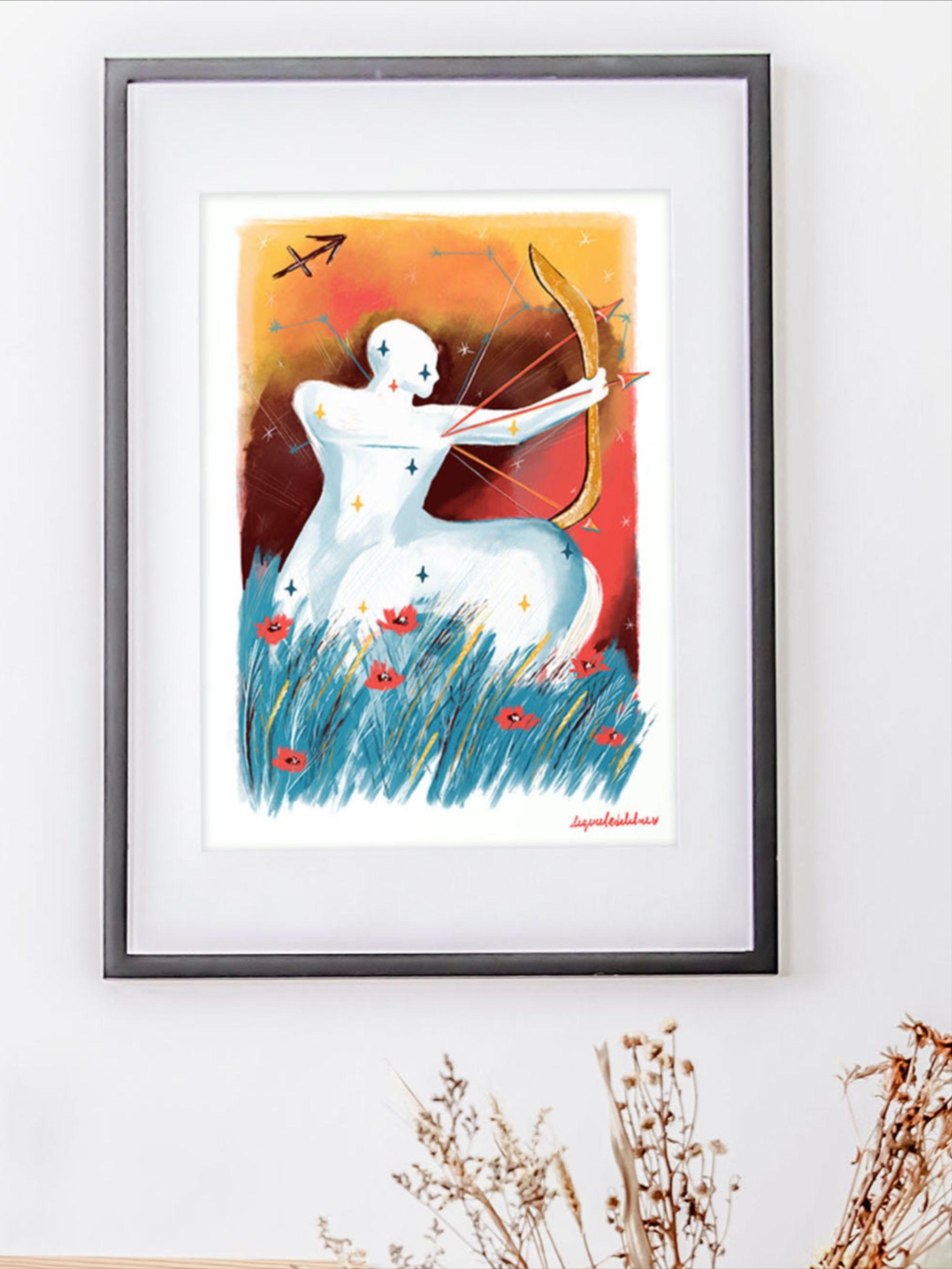 Sagittarius Zodiac Sign Art Print Sagittarius Birthday Gift Etsy Sign Art Art Art Prints