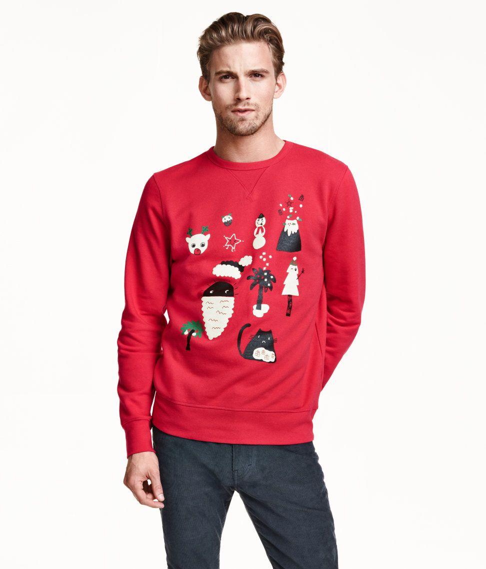 En långärmad tröja i sweatshirtkvalitet med tryckt julmotiv