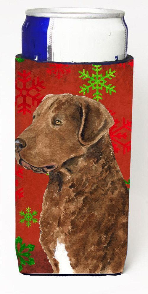 Chesapeake Bay Retriever Red Snowflakes Holiday Christmas Ultra Beverage Insulators for slim cans SS4738MUK