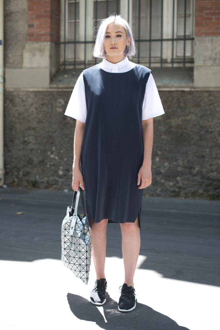 Pin for Later: 8 Styling Hacks to Take to Work This Summer Layer With a Collared Shirt Style a sleeveless dress with a collared, button-front top for a more polished and professional look.