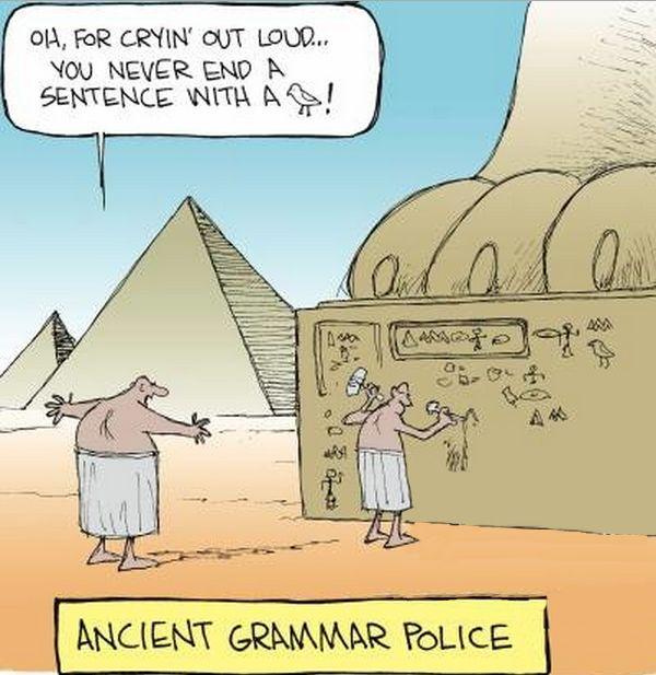 Ancient Grammar Police Cartoon Grammar Jokes Grammar Humor