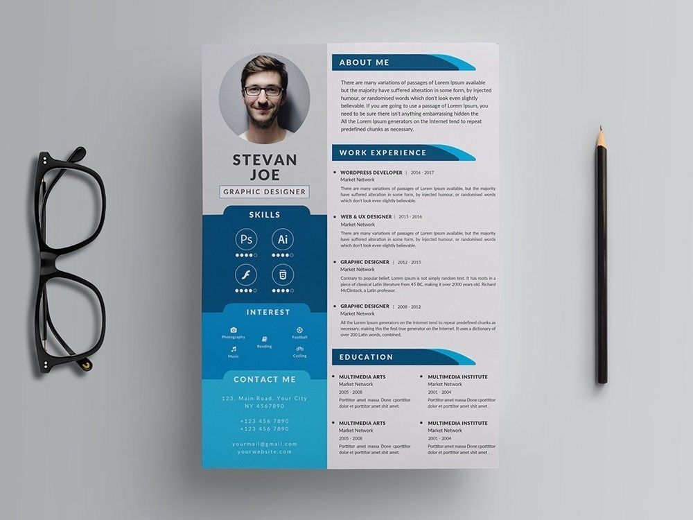 Free Modern Psd Resume Template Andy Khan On Dribbble