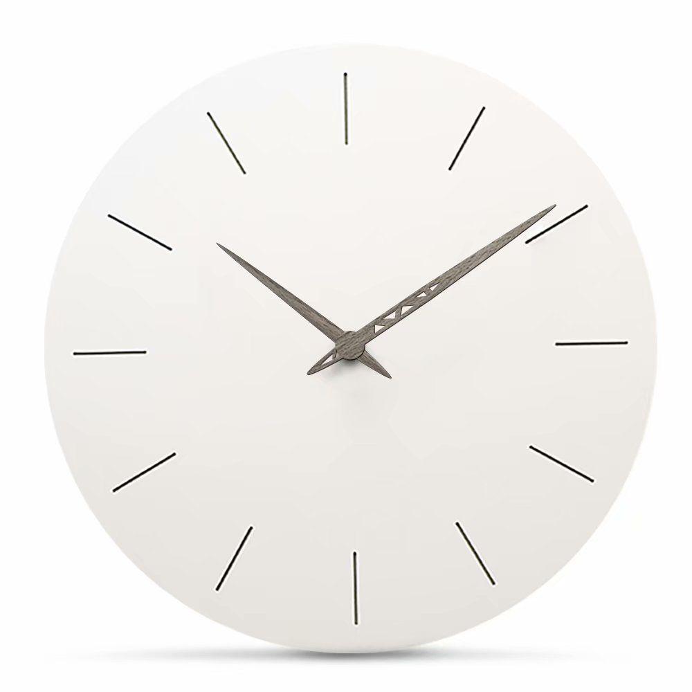 Florlife Silent White Round Wall Clock Non Ticking 12 Inch Atomic