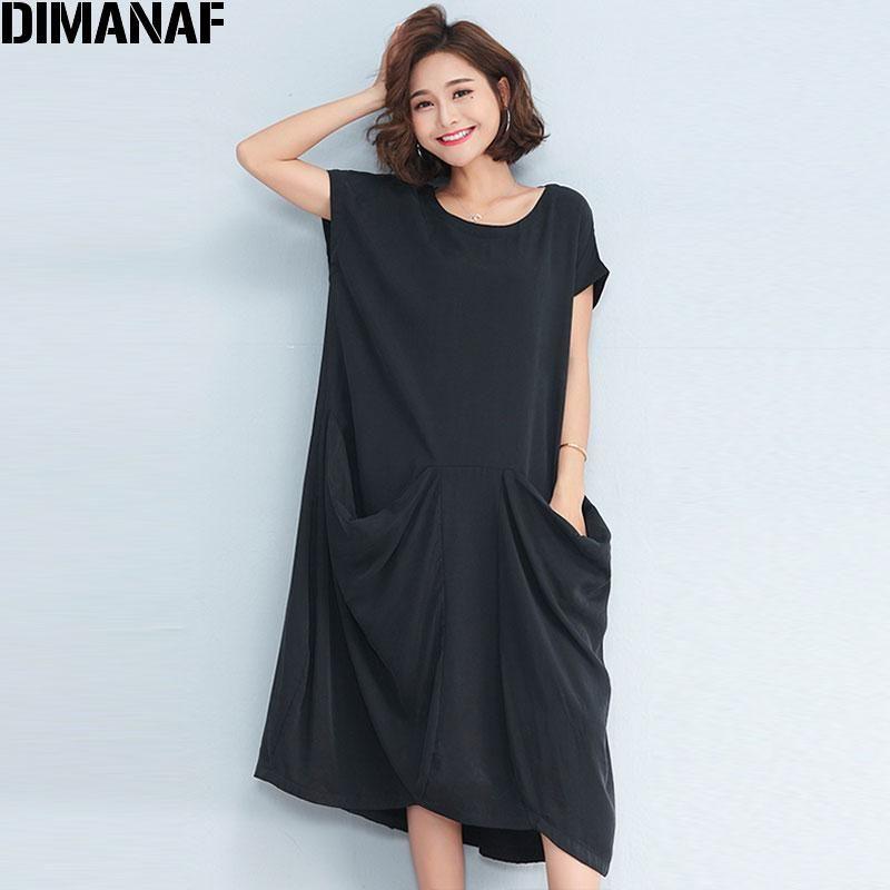 DIMANAF Women Long Dress Sundress Plus Size Solid Black