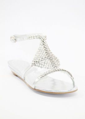 Wedding Flat Shoes Silver Rhinestone Low Heels Dress Shoe For Bridal Party At Zoey