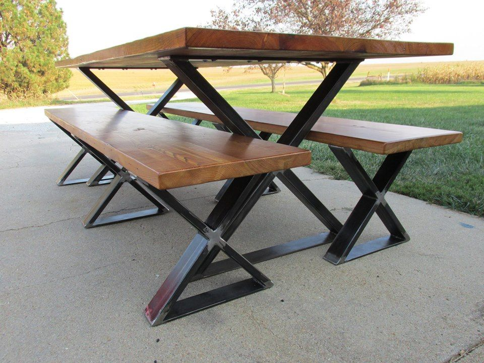 Wood and Metal X-Leg Dining Table and Benches, made in the USA ...