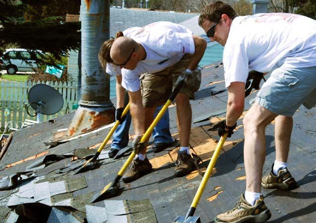 Tearing Off Shingles Roof Repair Roofing Contractors Commercial Roofing
