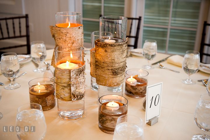 Glass candle holders wrapped with birch tree barks by Intrige Design ...