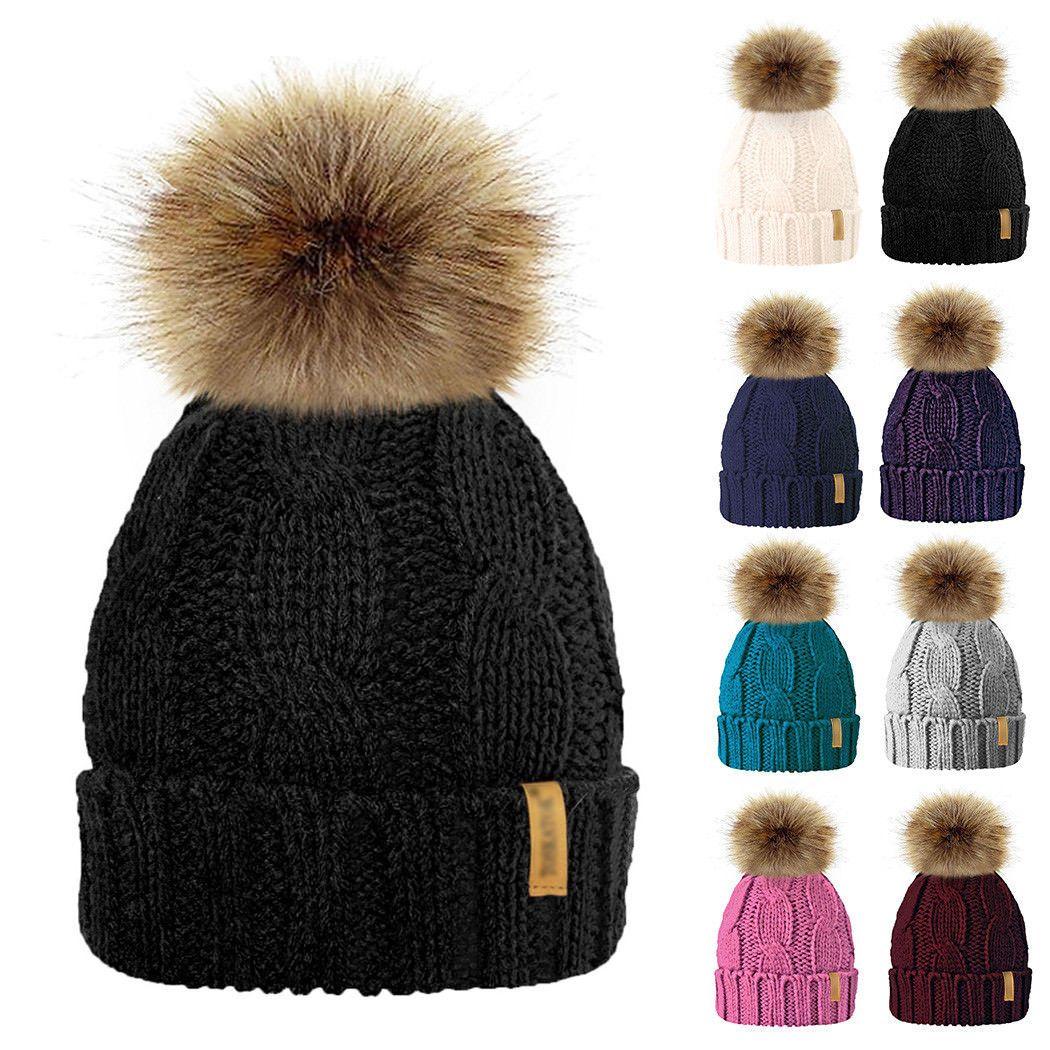 4.99AUD - Baby Girls Mom Warm Winter Knitted Beanie Fur Pom Hat Crochet Ski  Ball Cap Bw  ebay  Fashion 7b00542dd1a