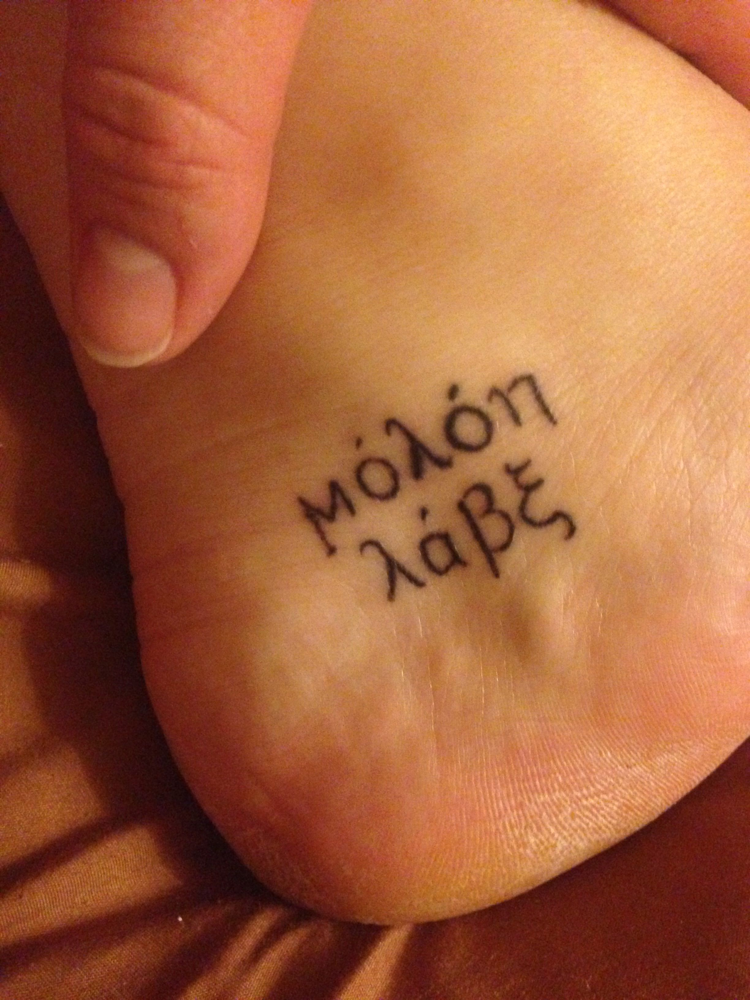 8ee3e84ddc705 MY MOLON LABE TAT I like the little part of it | Spartan | Tattoos ...