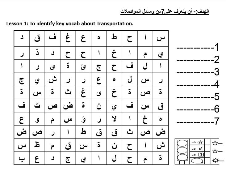 اللغة العربية بوربوينت ورقة عمل درس وسائل المواصلات لغير الناطقين بها للصف الثالث Vocab Words Lesson