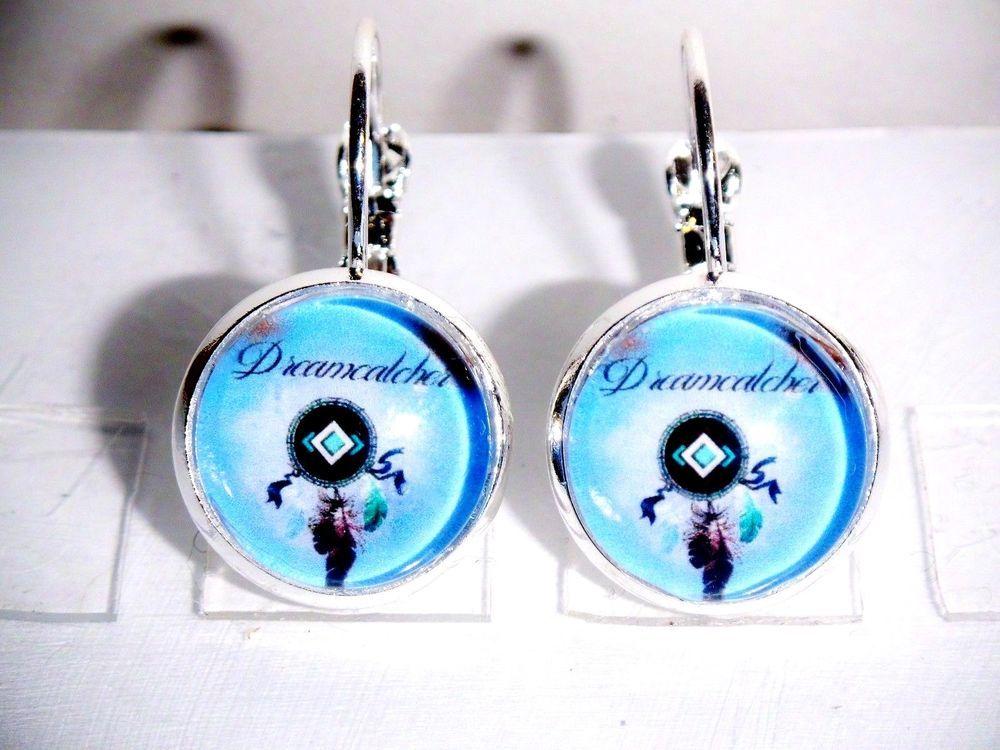 Ohrringe Traumfänger Dreamcatcher Blau Damen Ohrschmuck Modeschmuck Glas