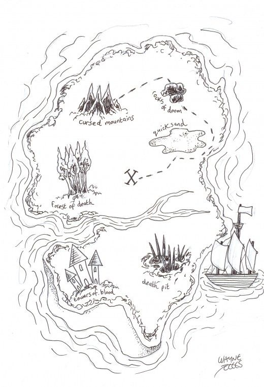 How To Draw A Pirate Treasure Map Pirate Treasure Maps Pirate