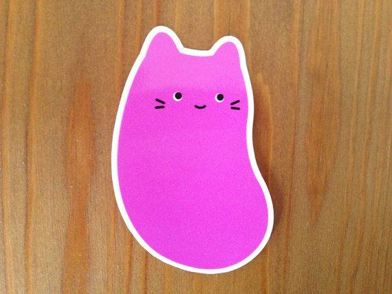 Jellybean Cat Vinyl Sticker 3 Weatherproof Decal Cute Pink Candy Kitten Illustration By Sparkle Collective Cat Stickers Cat Decal Sparkle Collective