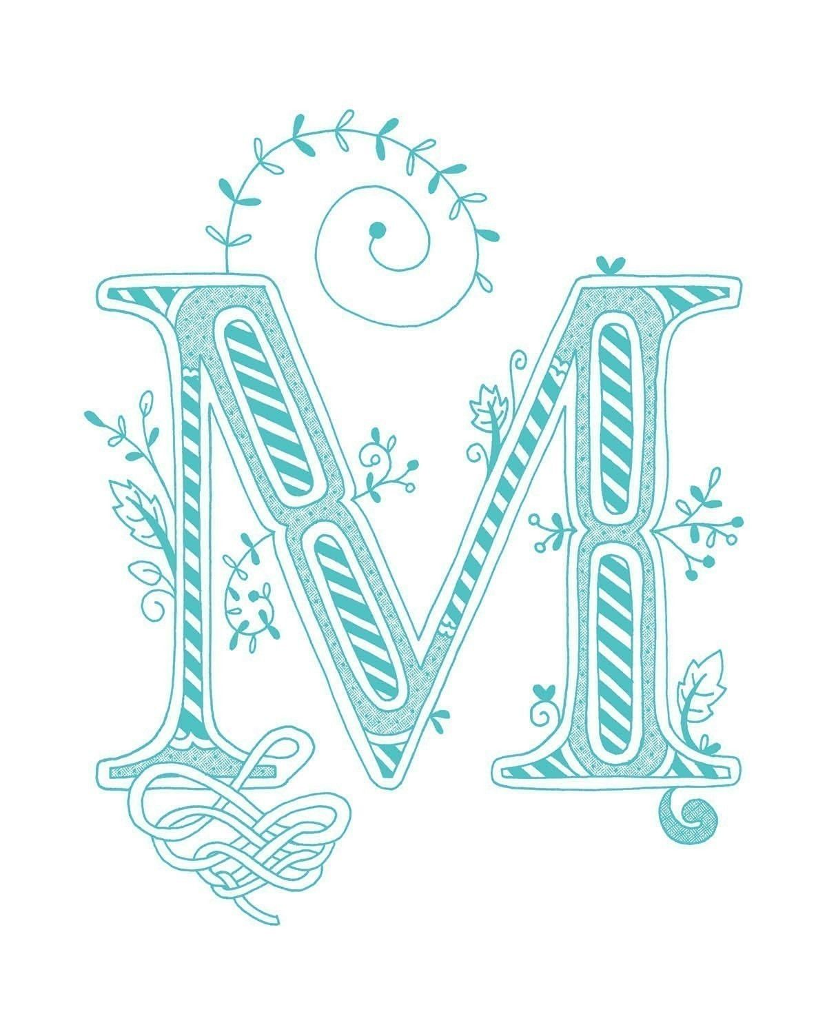Hand Drawn Monogrammed Print 8x10 The Letter M In The
