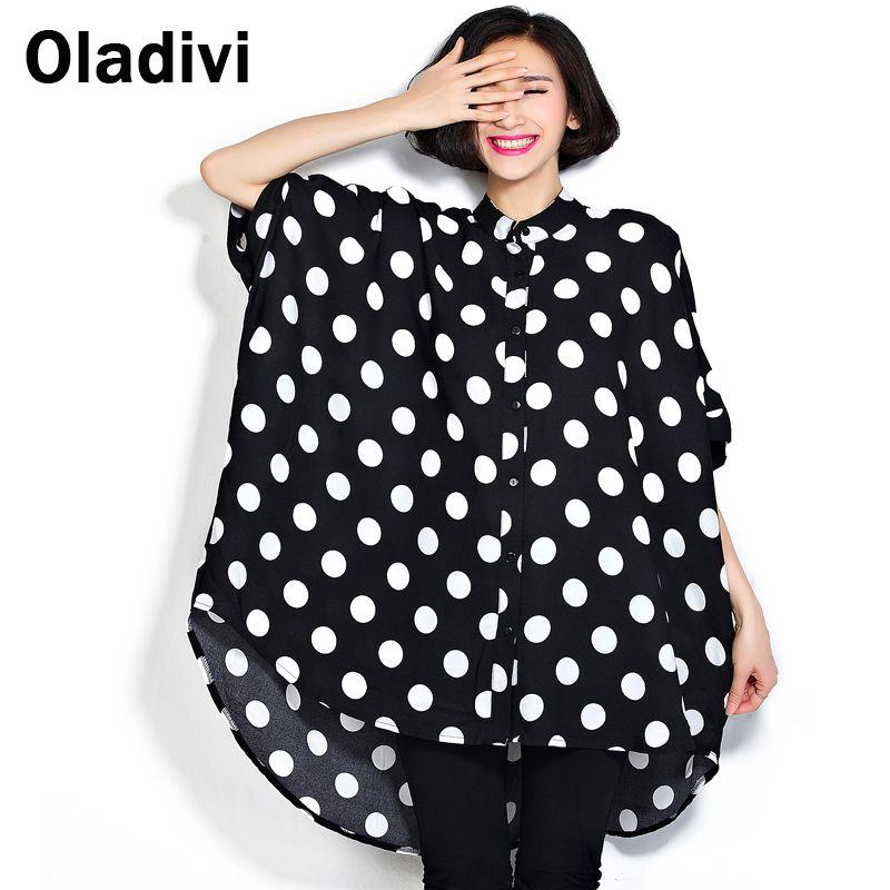 2034e4b33e753d Black White Polka Dot Oversized Chiffon Blouse for Women 2017 Summer New  Long Shirt Lady Casual Tops Tunic Plus Size 6XL 7XL 8XL