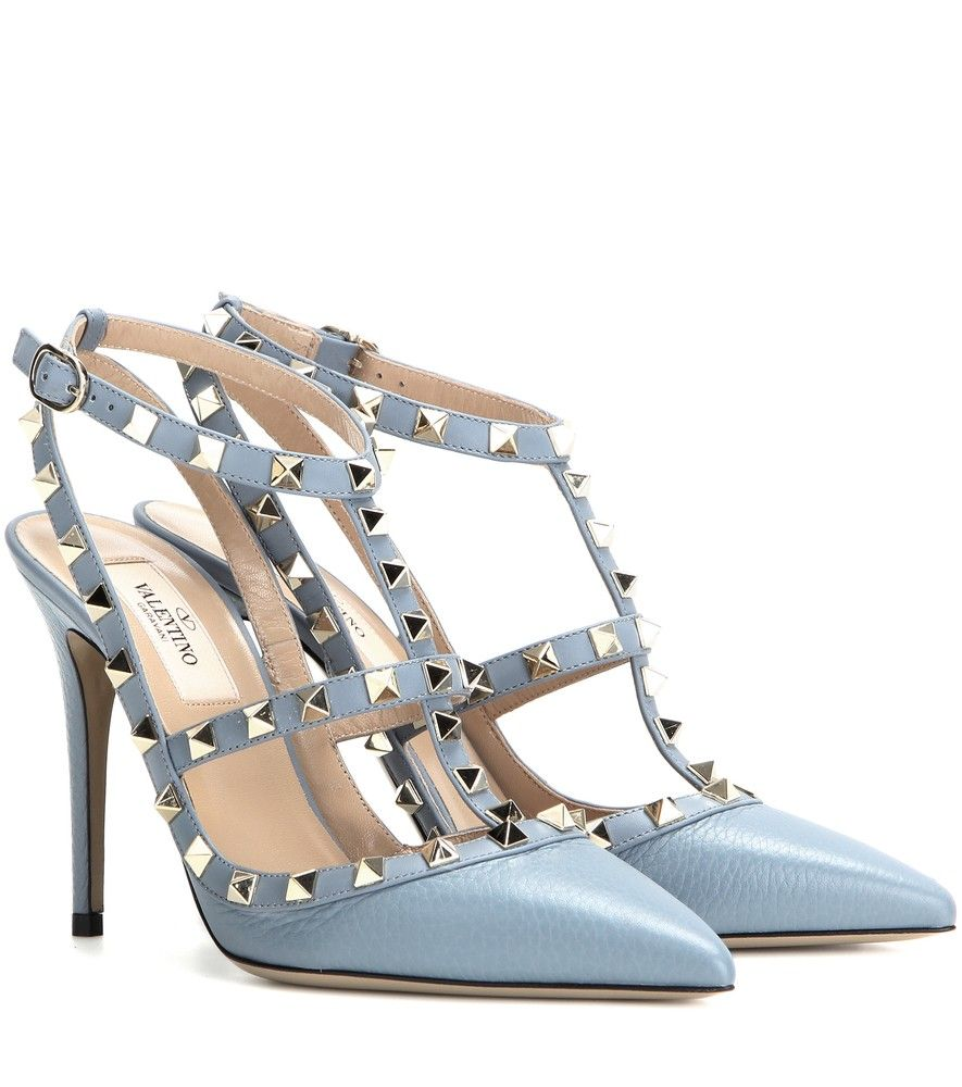 Valentino - Rockstud leather pumps - Valentino's 'Rockstud' pumps are equal parts elegant and edgy. Coated in grainy light blue leather with a smooth matching trim, this studded pair will work for day and evening alike. seen @ www.mytheresa.com