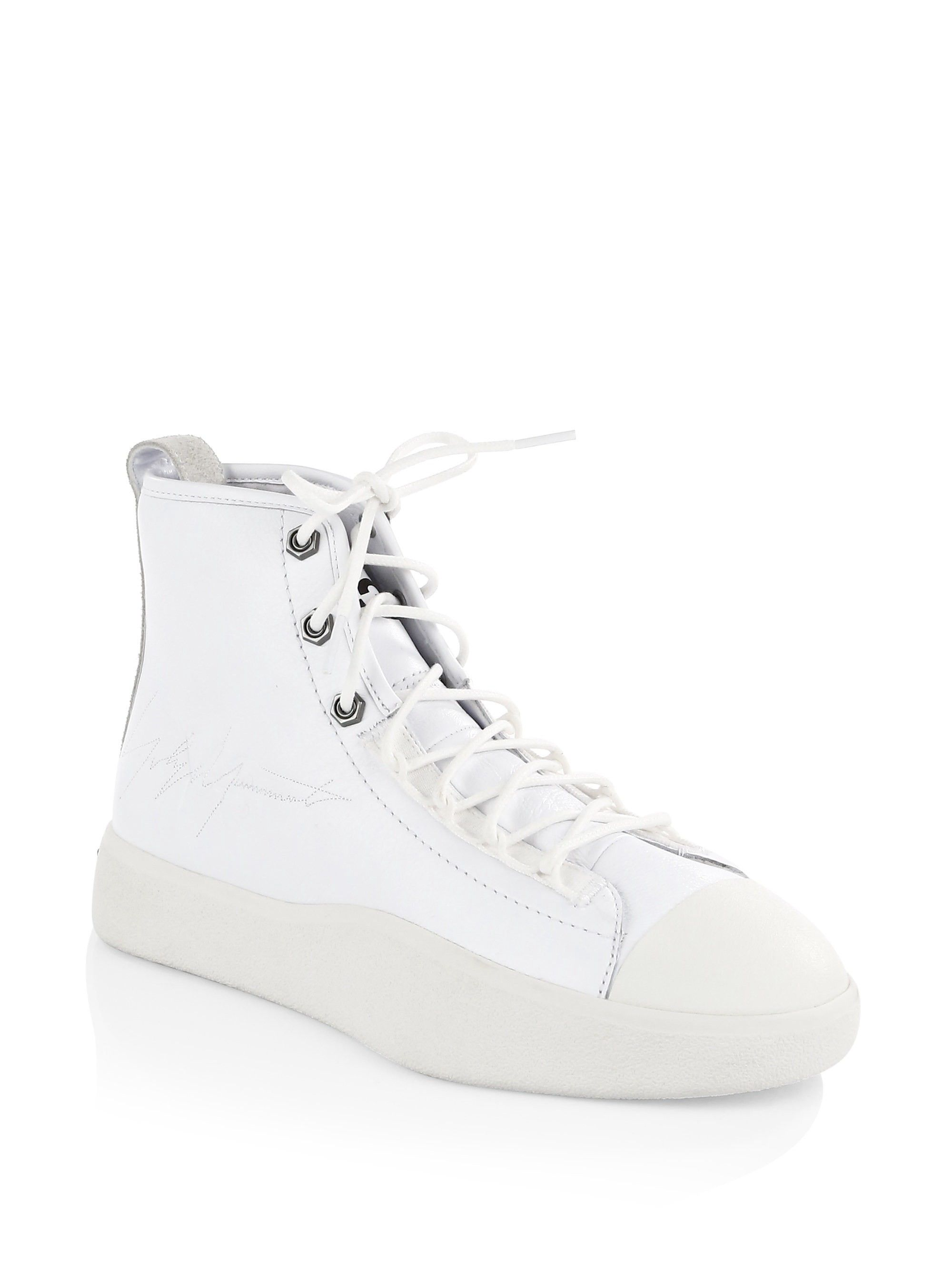 5f9134aae Y-3 Bashyo II High-Top Sneakers - White 10