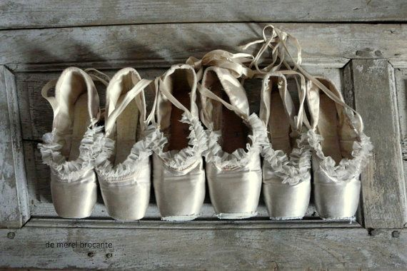 RESERVED FOR ELECT. 3 pairs silver tone shabby pointes ballet shoes antique corset tulle