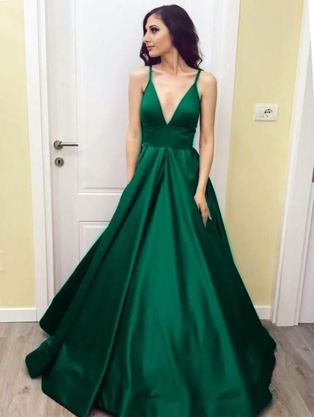 924e17fcdc Item Description   A Stylish Floor Length Satin Gowns With Deep V-neck and  Empire Waistline Which makes it perfect as your prom dress