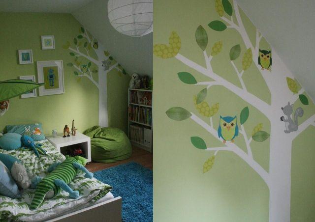 Hervorragend Wandfarben Ideen Kinderzimmer Dachschräge Junge Pastellgrün Deko Bäume