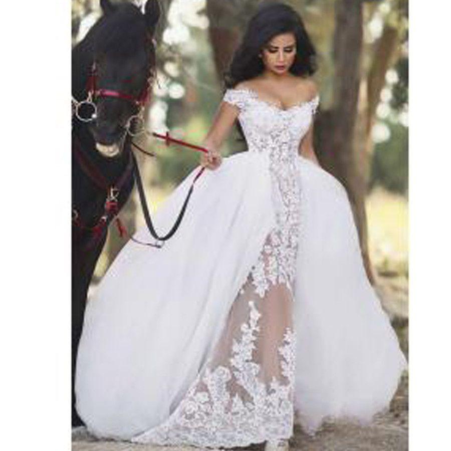 Sleeveless sheer lace detachable overskirt ball gown wedding