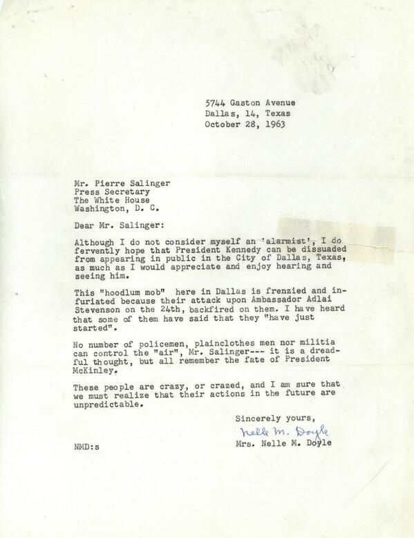 Warning Letter Re JfkS Trip To Dallas  Kennedys    Dallas