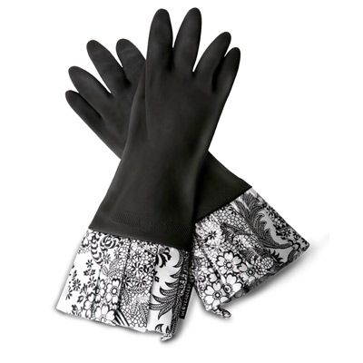 Gloveables Fashion Kitchen Gloves Black With Black Lace Black