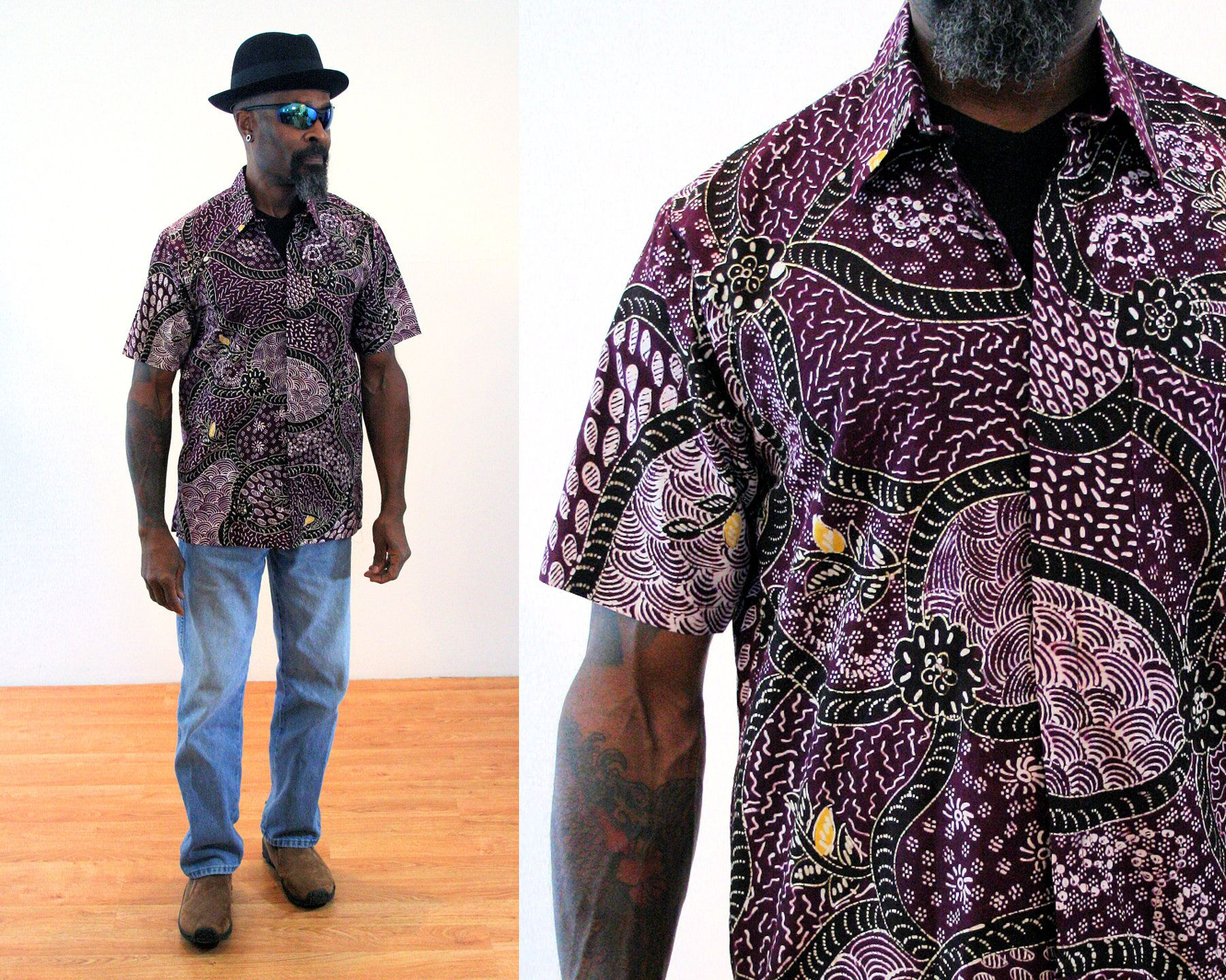 90s India Batik Shirt S M Purple Black Hippie Men S Etsy Black Hippy Mens Vintage Shirts Mens Shorts Summer